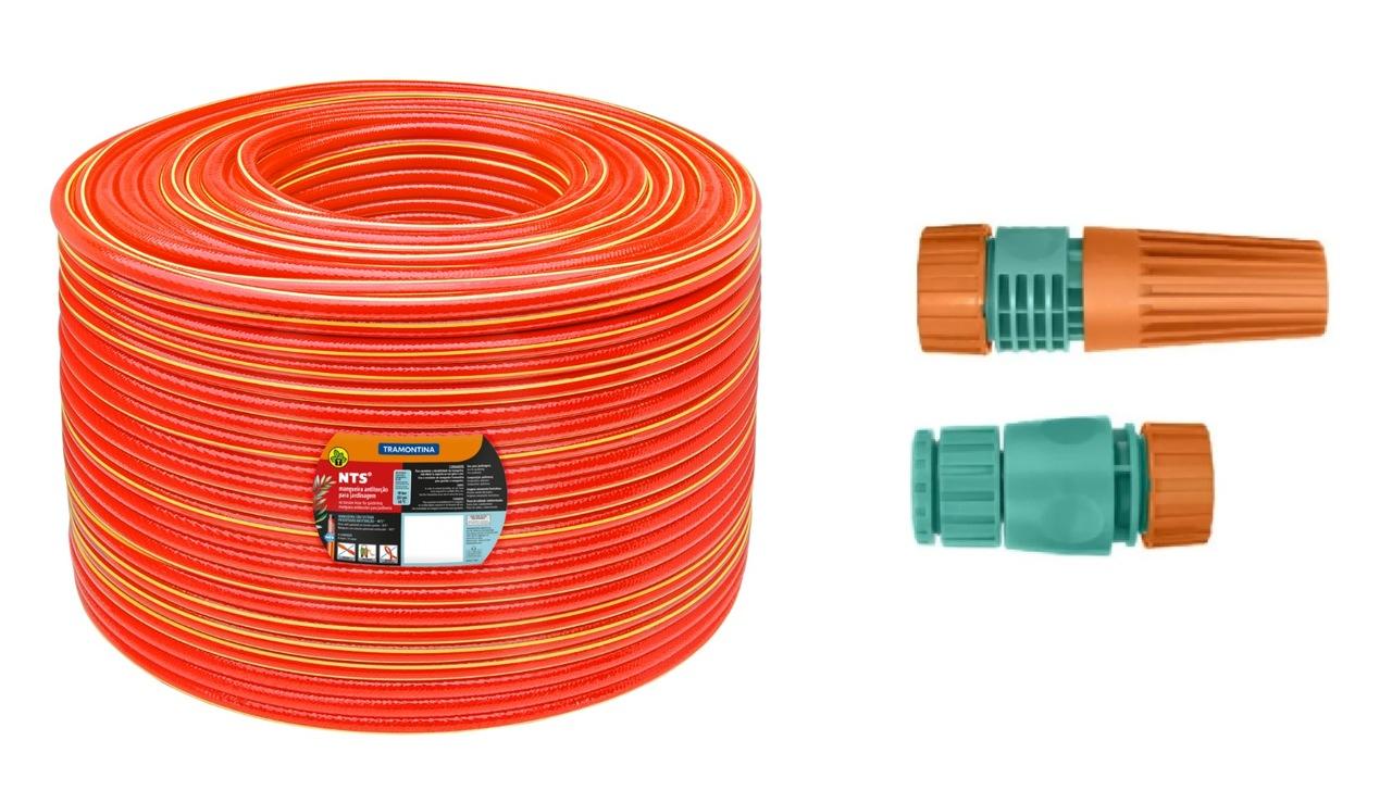 """Mangueira NTS® 1/2"""" Antitorção Vermelha em PVC 4 Camadas Tramontina"""