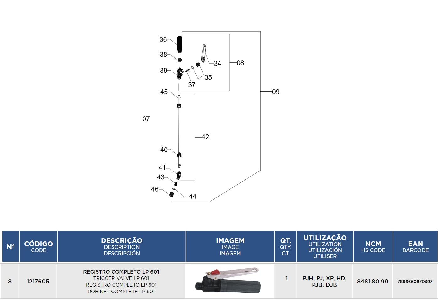 Registro Completo Para Pulverizador 1217605 Jacto