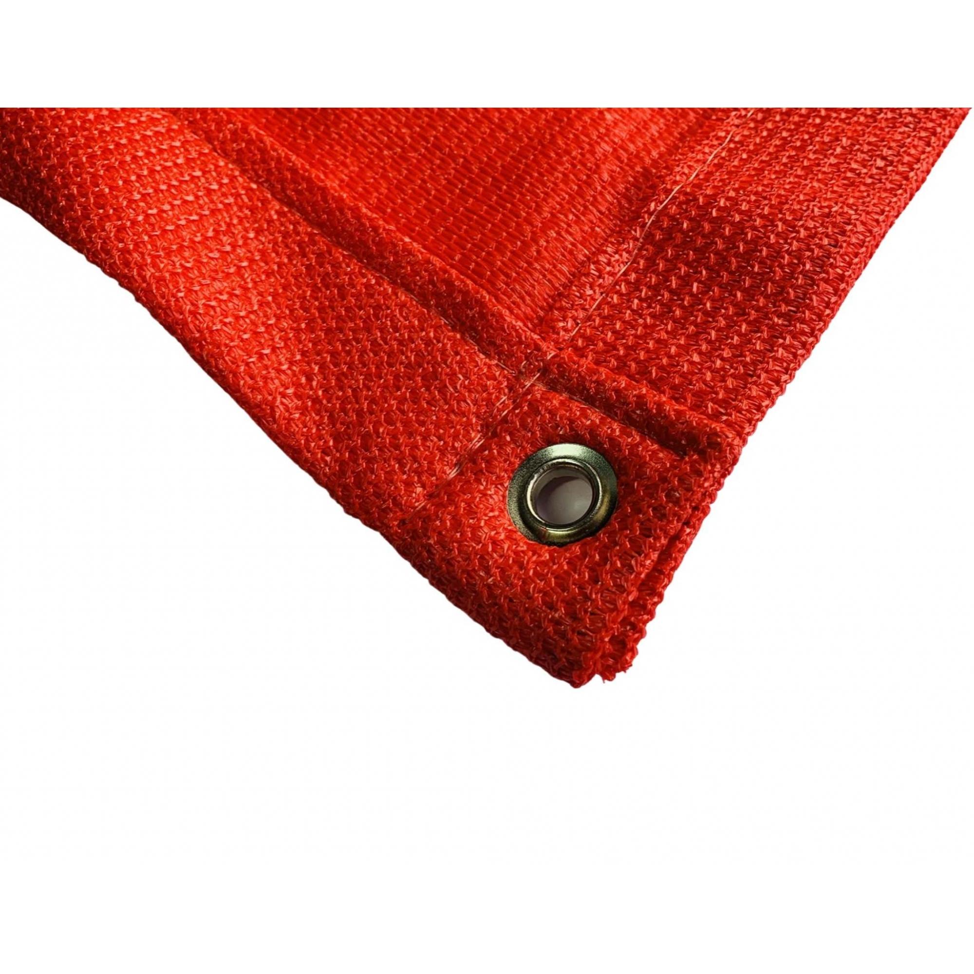Tela de Sombreamento 90% Vermelha com Bainha e Ilhós - Largura: 2,8 Metros
