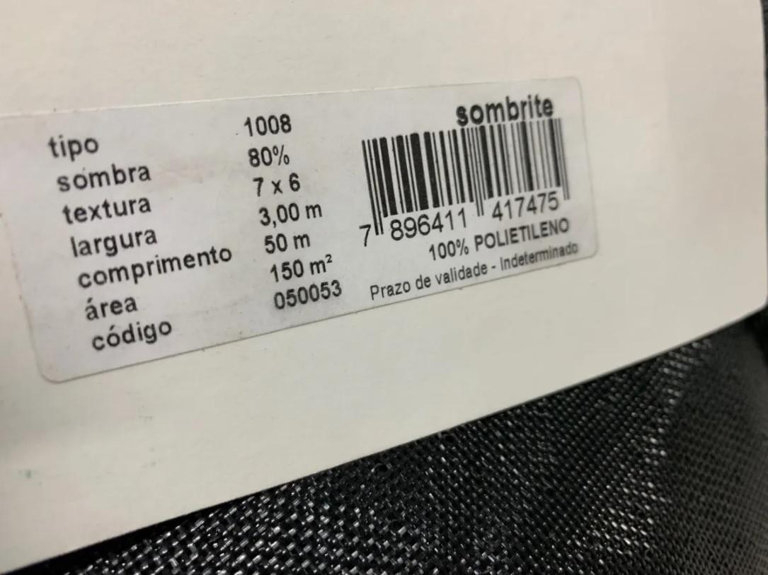 Tela Sombrite Equipesca Nylon 80% - 3 Metros X 20 Metros