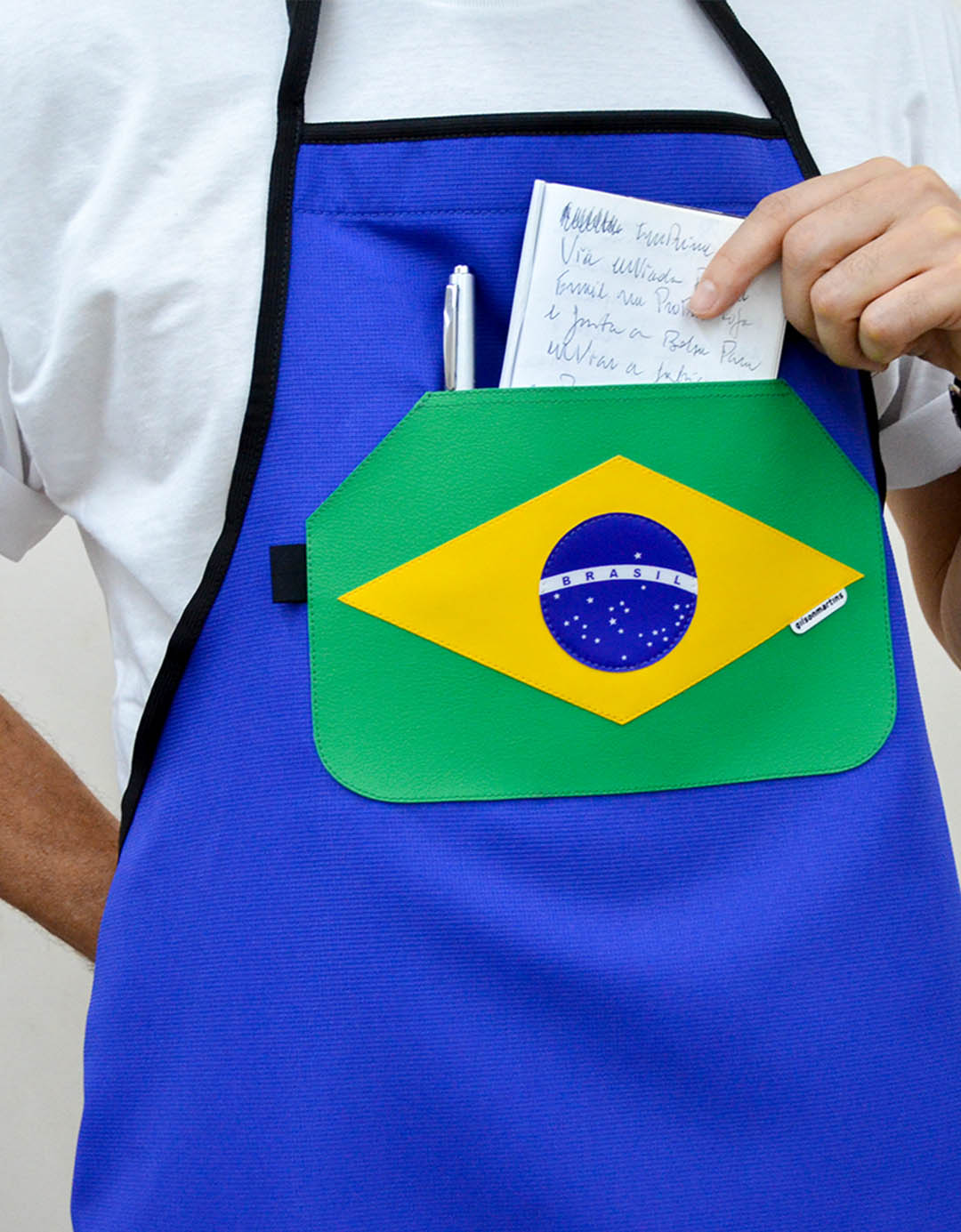 Avental Assinado Azul Gilson Home - Brasil
