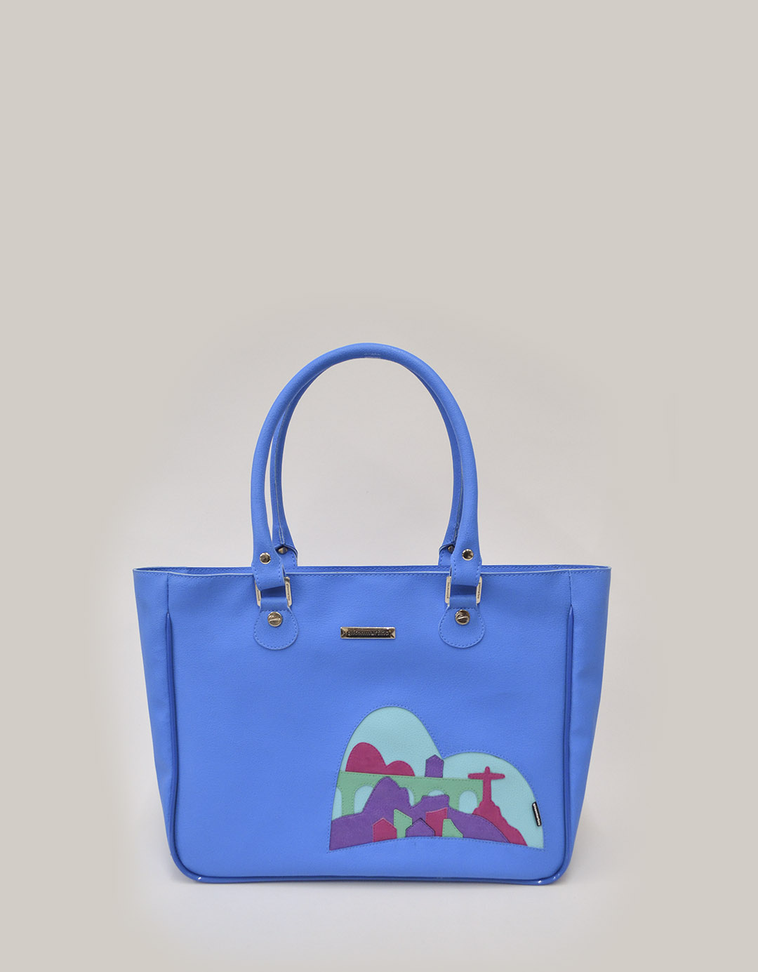 Bolsa Feminina de Ombro Azul Customizada Ipanema Lixo Nobre