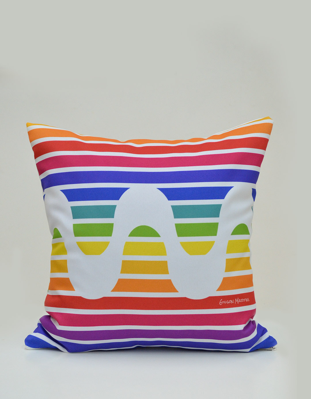 Capa de Almofada Dupla Face Assinada Gilson Home - Rainbow Rio