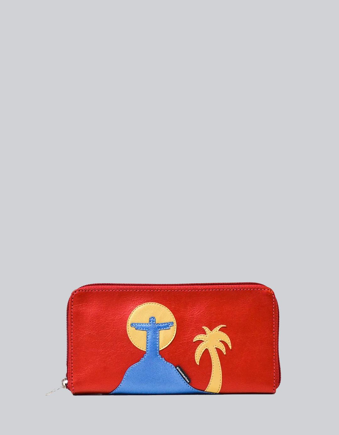 Carteira Feminina Zíper Vermelha Ouro Exclusiva G