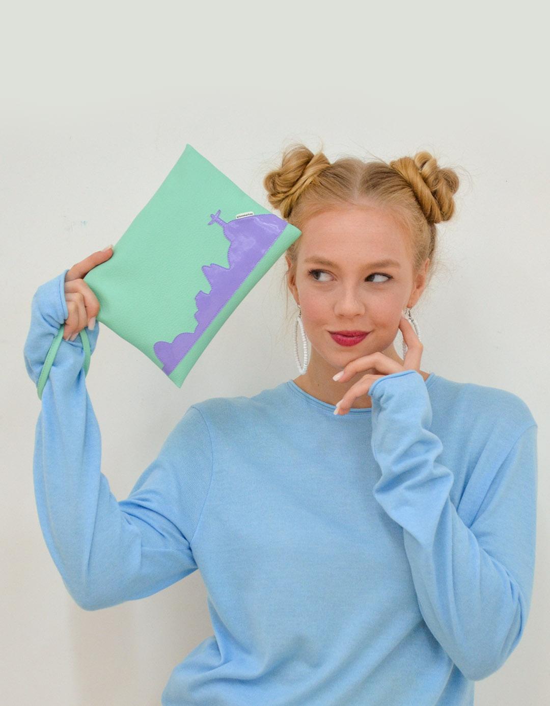 Clutch Multiuso Verde tipo Envelope Paty