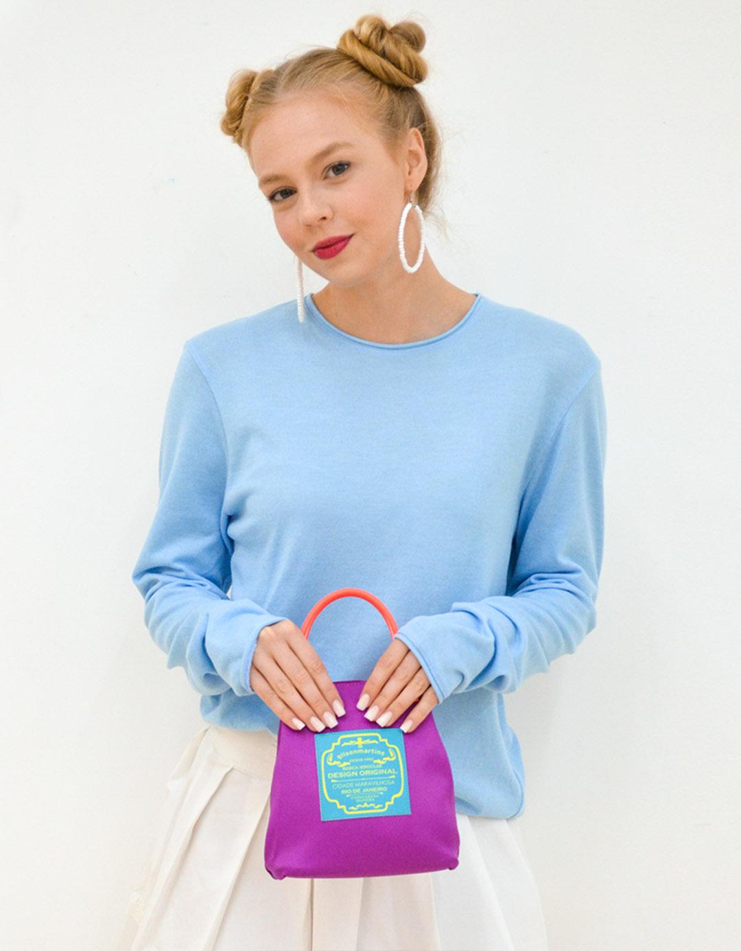 Mini Bolsa Balde de Mão Kim Rosa