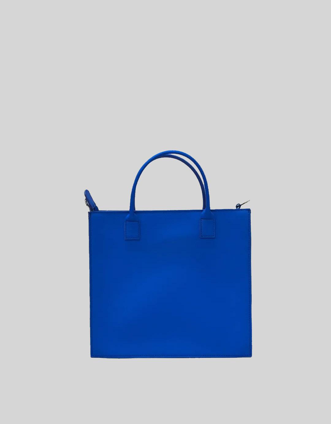 Mini Bolsa Shoulder Bag de Mão Customizada Exclusiva Letícia Lixo Nobre Azul