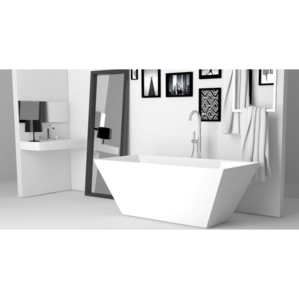 Banheira de Imersão Sabbia Quadra Branca com válvula click.