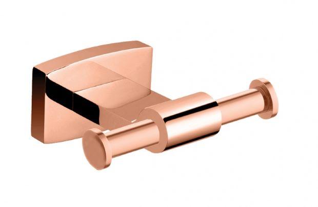 Cabideiro Duplo Rubinettos Acabamento Rose Gold - Linha Organic.