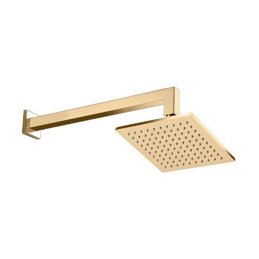 Chuveiro de Parede 20cm x 20cm Acabamento Dourado - Linha Spa Quadro