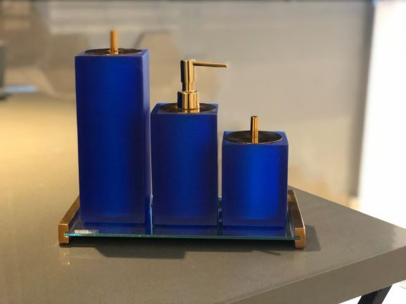 Conjunto 3 peças Quadrado Azul Translúcido/Red Gold