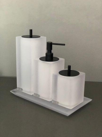 Conjunto 3 Peças Quadrado Cristal Fosco/Black Matte