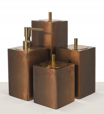 Conjunto 4 peças Quadrado Cacau/Gold