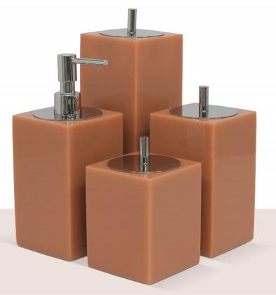 Conjunto 4 peças Quadrado Papaya/Cromado