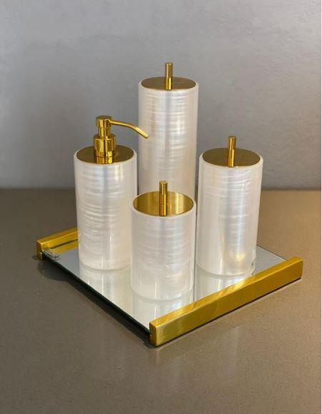 Conjunto de Acessórios Pérola Gold Resimetal