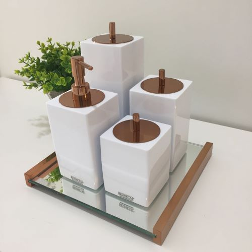 Conjunto Quadrado para Banheiro 4 peças com Tampa Cobreada e Acabamento Branco