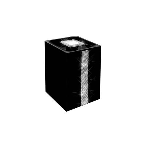 Lixeira de bancada diamond preta com cristais.