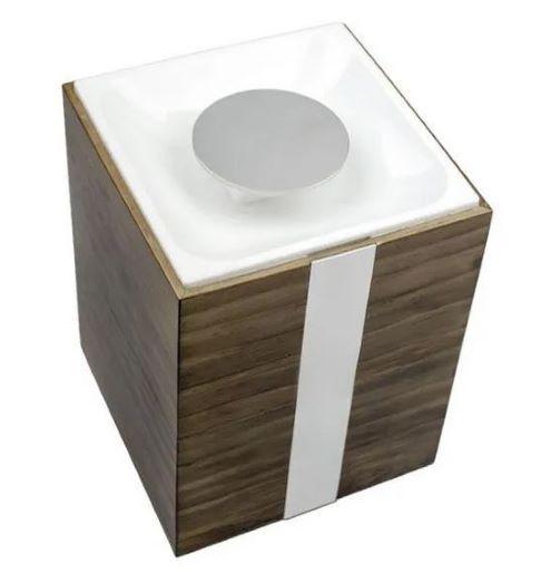 Lixeira de Bancada Zen Wood Branca com Cromado