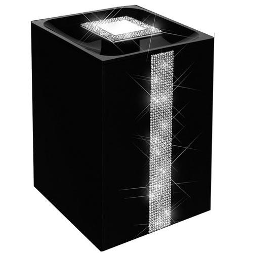 Lixeira de piso com cristal Swarovski preta com cromado 5 lts.