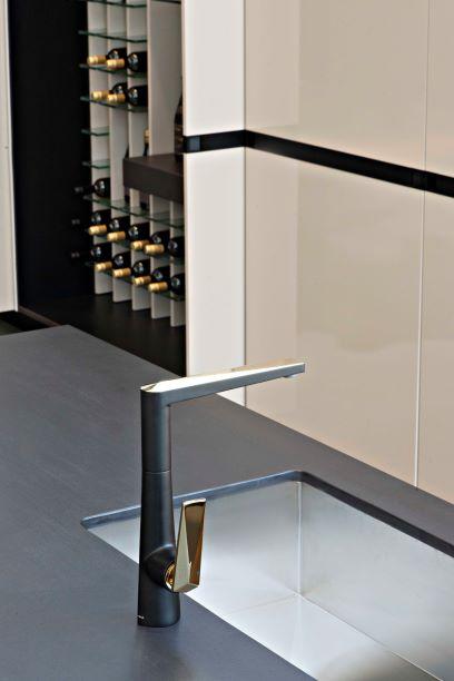 Misturador Monocomando para Cozinha Acabamento Preto Matte e Dourado
