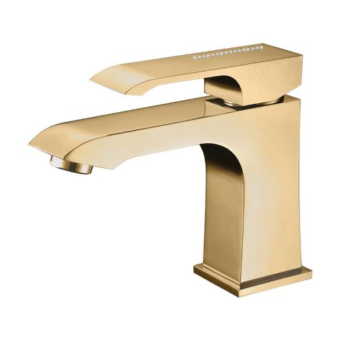Misturador Monocomando para Lavatório Acabamento Dourado com Cristais Swarovski - Linha Fashion