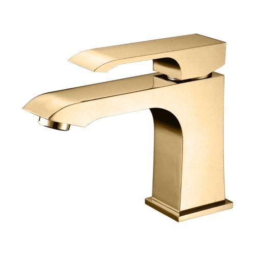Misturador Monocomando para Lavatório Acabamento Dourado - Linha Fashion