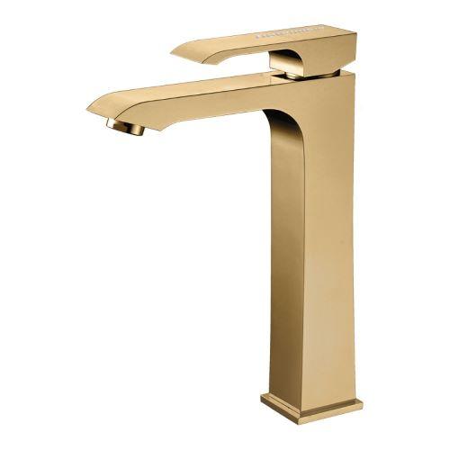 Misturador Monocomando para Lavatório com Bica Alta Acabamento Dourado com Cristais Swarovski - Linha Fashion