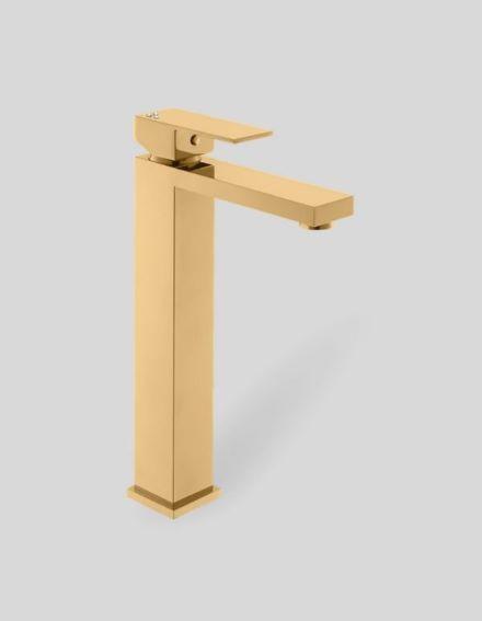 Misturador Monocomando para Lavatório com Bica Alta Acabamento Dourado e Cristais Swarovski