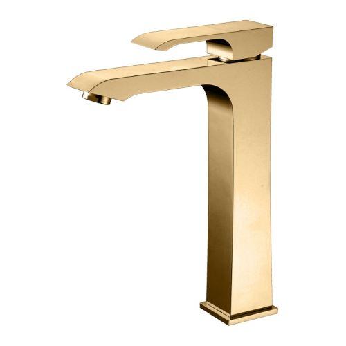 Misturador Monocomando para Lavatório com Bica Alta Acabamento Dourado - Linha Fashion Rubinettos