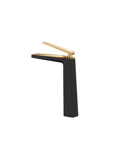 Misturador Monocomando para Lavatório com Bica Alta Acabamento Preto Matte e Dourado Brilho