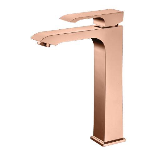 Misturador Monocomando para Lavatório com Bica Alta Acabamento Rose Gold - Linha Fashion Rubinettos