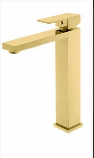 Monocomando de lavatório quadrado  alto dourado.