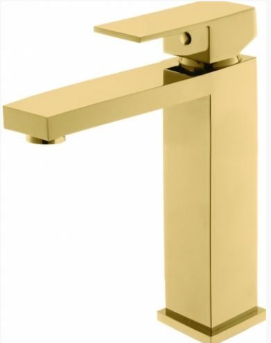Monocomando de lavatório quadrado dourado.