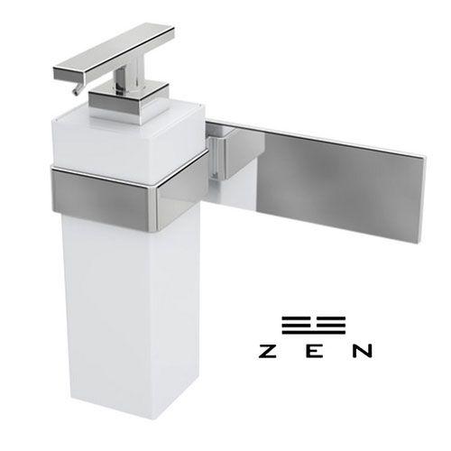 Porta sabonete liquido de parede Zen Soul branco com cromado.