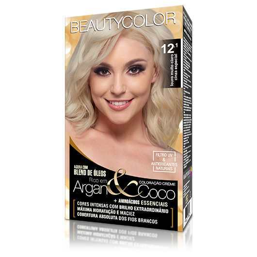 Coloração BeautyColor Permanente Kit - 12.1 Louro Muito Claro Cinza Especial