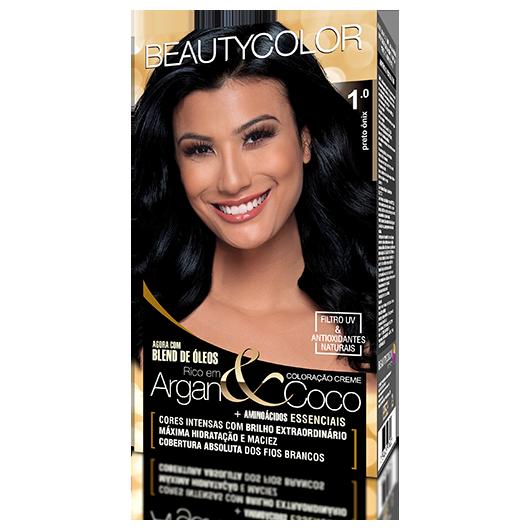 Coloração BeautyColor Permanente Kit - 1.0 Preto Ônix