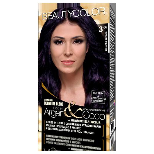 Coloração BeautyColor Permanente Kit - 3.66 Castanho Púrpura
