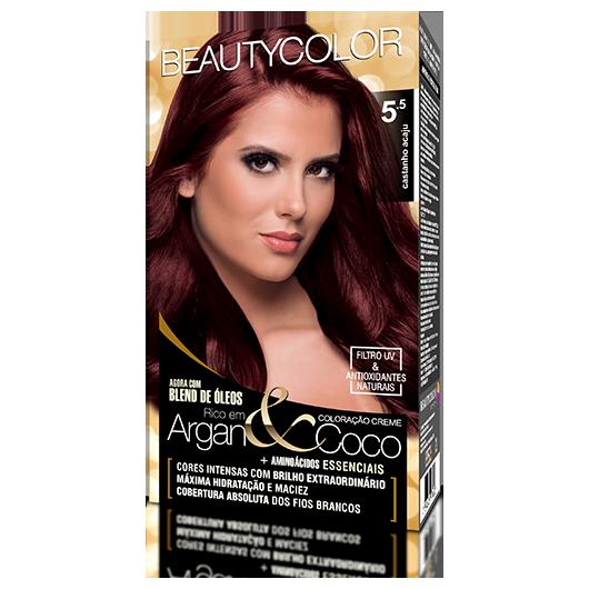 Coloração BeautyColor Permanente Kit - 5.5 Castanho Acaju