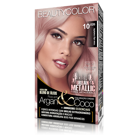Coloração BeautyColor Permanente Kit Urban Metalic - 10.026 Rose Sky