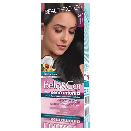 Coloração Bela&Cor Sem Amônia Kit - 3.0 Castanho Escuro