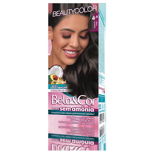 Coloração Bela&Cor Sem Amônia Kit - 4.0 Castanho Médio