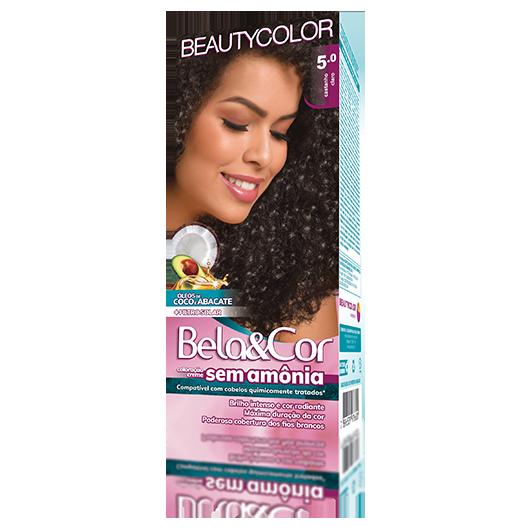 Coloração Bela&Cor Sem Amônia Kit 5.0 Castanho Claro
