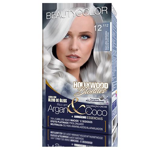 Coloração Permanente Kit Hollywood Blondes - 12.112 Louro Ultra Claris Especial Extra Cinza