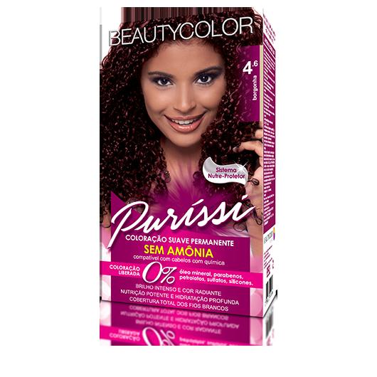 Coloração Suave Permanente Sem Amônia Puríssi Kit - 4.6 Borgonha