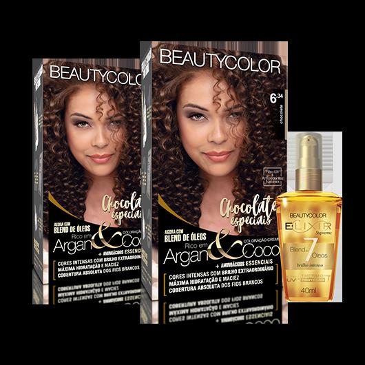 Kit BeautyColor 6.34 Chocolate + E.lixir Blend de 7 Óleos
