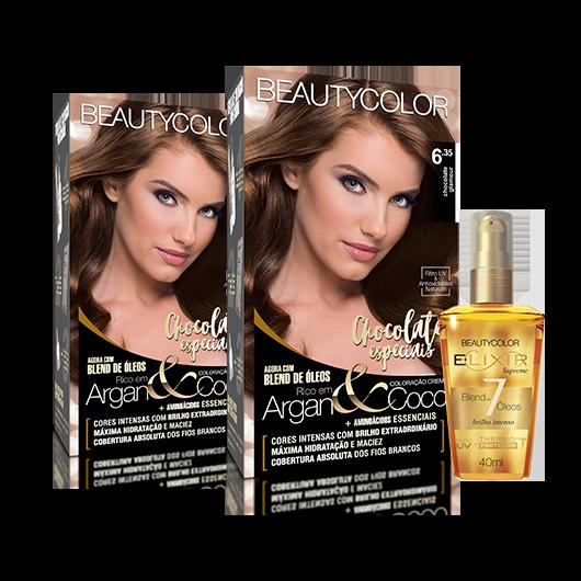 Kit BeautyColor 6.35 Chocolate Glamour + E.lixir Blend de 7 Óleos