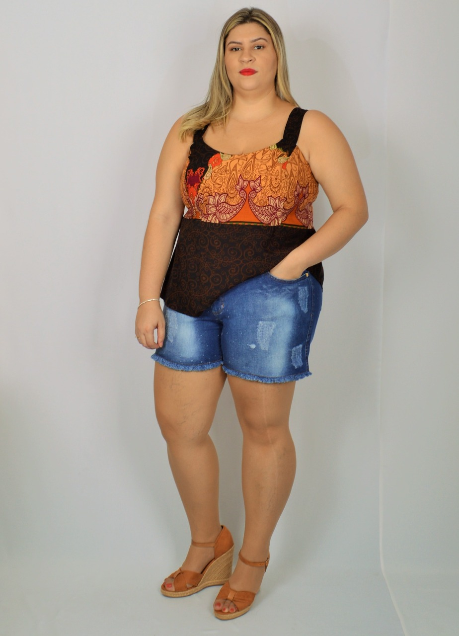 BLUSA BARRADO VISCOSE PLUS SIZE