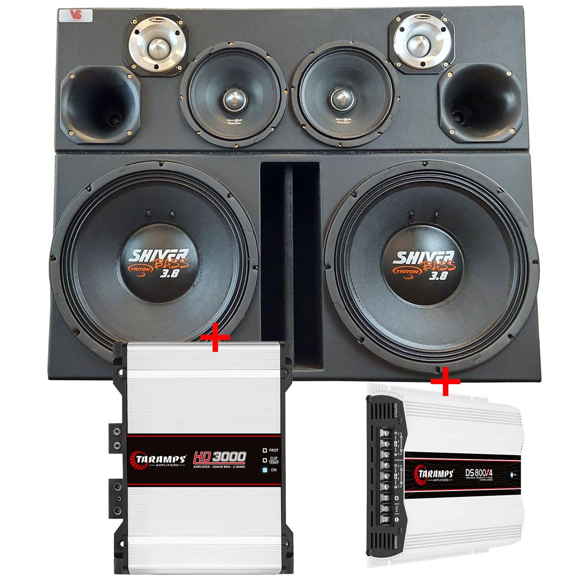 Caixa 4 Vias c/ Shiver Bass 3.8 +Dr +Tw +Médio + Módulos