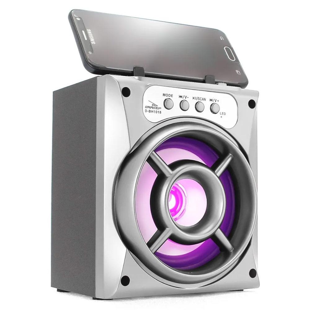 Caixa Bluetooth Grasep D-BH1018 10w com Fm/Sd/Usb Prata
