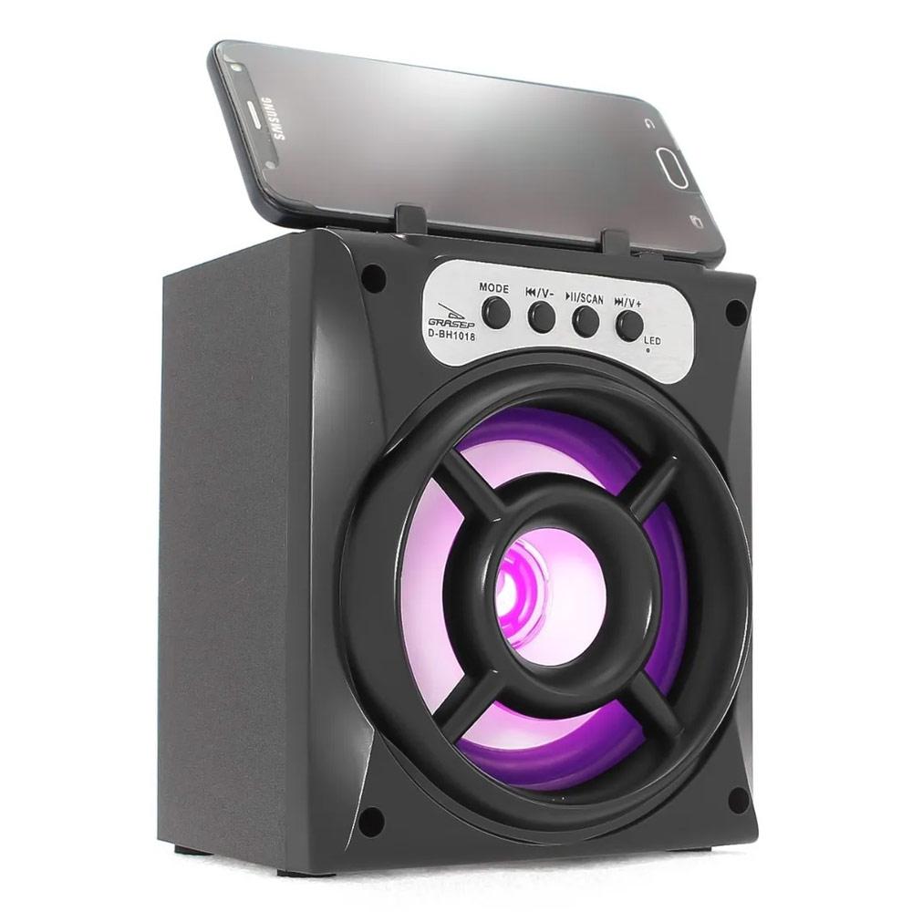 Caixa Bluetooth Grasep D-BH1018 10w com Fm/Sd/Usb Preta